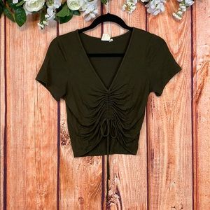 Live In The Moment Boho Ruched Crop Top 1004CH3